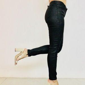 Madewell Waxy Moto Black Skinny Jeans